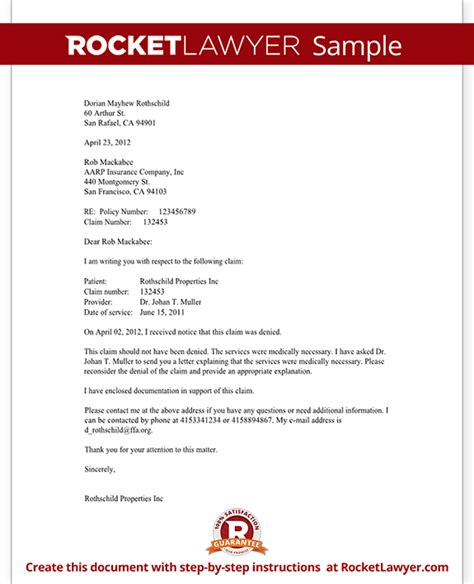 Insurance Dispute Letter Template Letter To Appeal A Claim With Sle