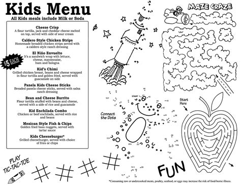 kids menus twin water design restaurant menu design