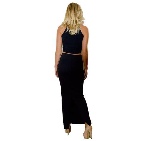womens maxi skirt black bodycon sidesplit pencil 8