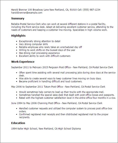 postal clerk resume sle postal service clerk resume template best design tips