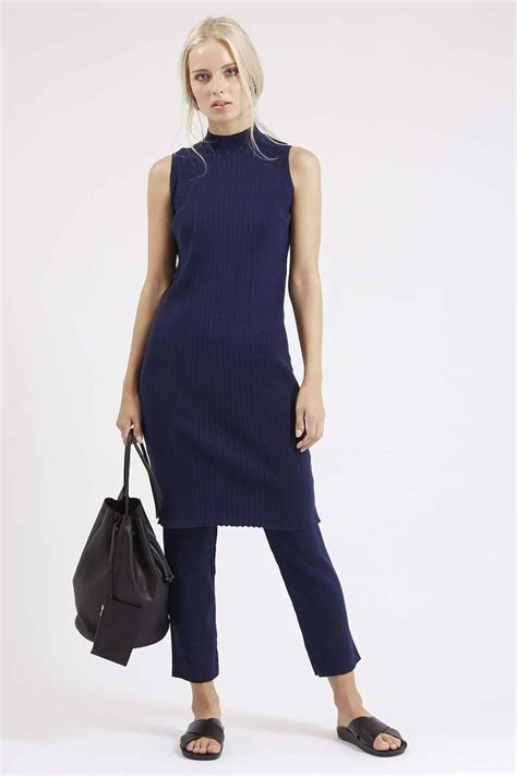 Hints On Wearing Dresses by Clean Ribbed Tunic And Cropped Trousers Clothing