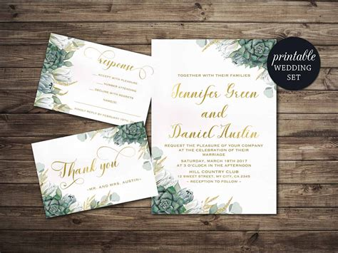 printable wedding invitation floral wedding invitation set