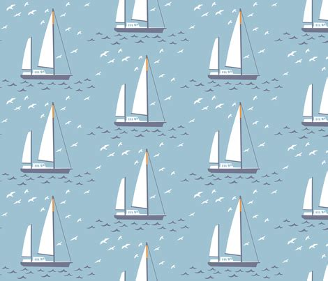 Yacht Pattern Fabric | french yacht fabric needlebook spoonflower