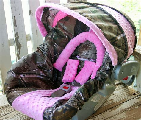 newborn camo car seat realtree camo w baby pink minky car seat cover and cover
