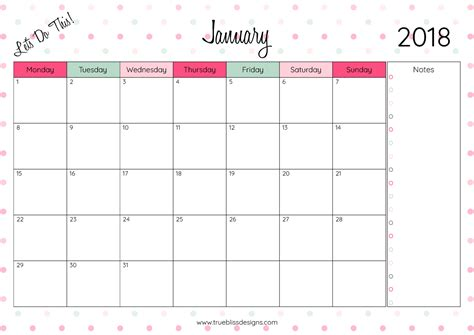 2018 Monthly Printable Calendar Let S Do This True | 2018 monthly printable calendar let s do this true