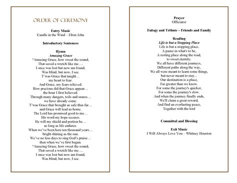 template of funeral order of service funeral program quotes quotesgram