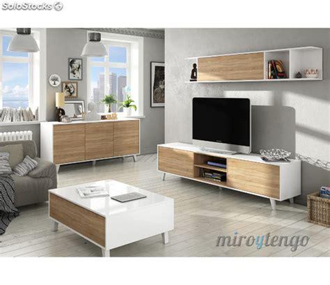 mueble tv de salon modulo bajo  estante nordico blanco