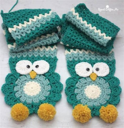 free crochet pattern owl motif crochet owl scarf free pattern and video the whoot