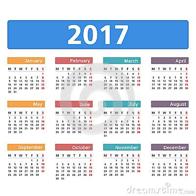 Calendã Sp 2017 Calendario 2017 Ilustraci 243 N Vector Imagen 72174712
