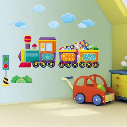 kids designs wall decor for kids colorful fun train wall stickers for