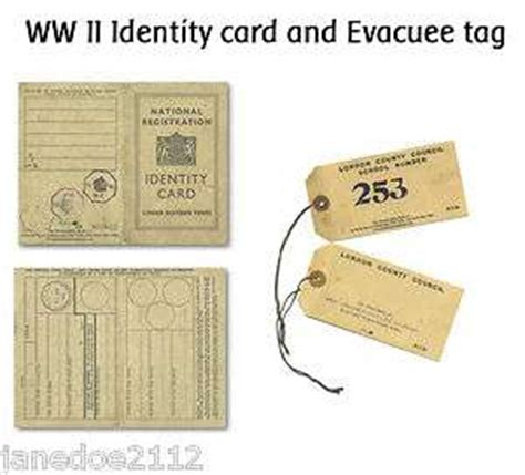 ww2 evacuee identity card template national registration identity card used in ww2 by