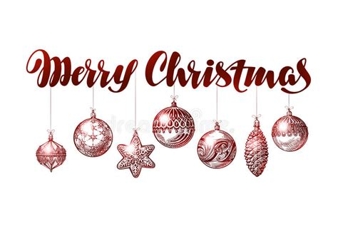 merry christmas banner vintage xmas decoration sketch vector illustration stock vector
