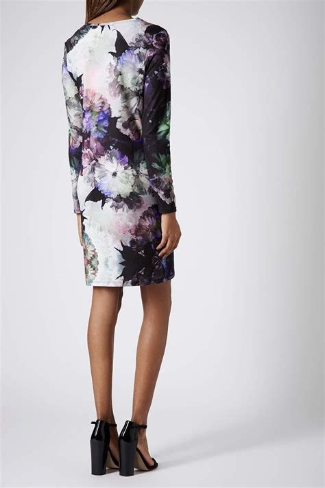 blue patterned bodycon dress topshop tall floral print bodycon dress in blue lyst