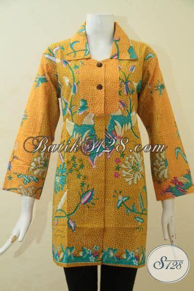 Baju Batik Pastel Kuning batik blus formal warna kuning motif bunga baju batik remaja putri dan wanita muda proses print