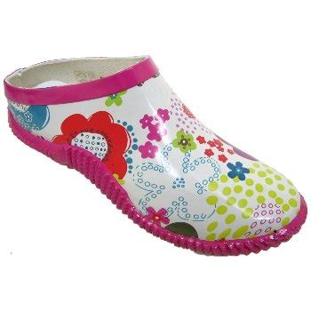 pink white flower slip on garden gardening clogs shoes