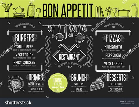 Placemat Menu Restaurant Food Brochure Cafe Stock Vector 516776476 Shutterstock Placemat Menu Templates