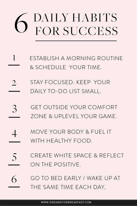 Healthy Habits For Sustained Success 6 Daily Habits For Success Dreams For Breakfast On Purpose