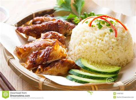 chicken and rice food malaysia grilled chicken rice stock photography image 31987322