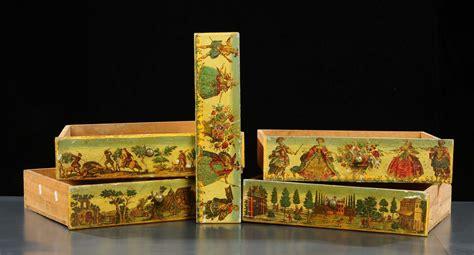 cassetti argenti cinque cassetti decorati in arte povera venezia inizio