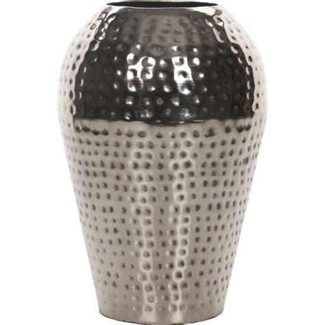 Silver Metal Vase expressions by hosley hammered metal vase silver