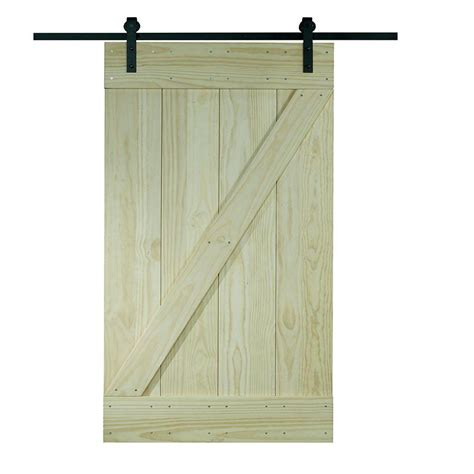 Pinecroft 26 In X 81 In Timber Hill Wood Barn Door With Timber Barn Doors