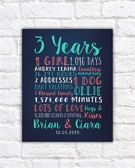 Wedding Gift Year 1 by Anniversary Gift Any Year Personalized Gifts For