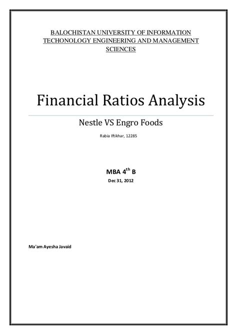 Financial Performance Analysis Project Report For Mba Pdf by Financial Ratios Analysis Project At Nestle And Engro Foods