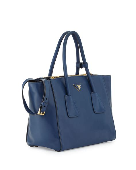 Prada Bag 10 Prada Glace Calf Pocket Tote Bag In Blue Lyst