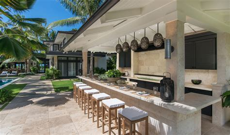 outdoor kitchen against house just listed kailua s 22 8 million house of paradise