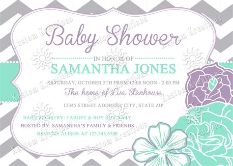 Lavender And Green Baby Shower by Chevron Flowers Baby Shower Invitations Kustom Kreations