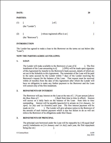 Letter Of Agreement Template Uk Printable Sle Loan Contract Template Form Laywers