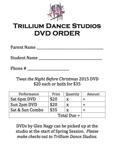 dvd order form template dvd order form trillium studios