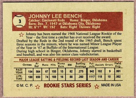 johnny bench cincinnati reds johnny bench 1968 cincinnati reds rookie stars series