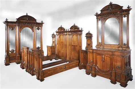 neo renaissance italian bedroom set in walnut bedroom