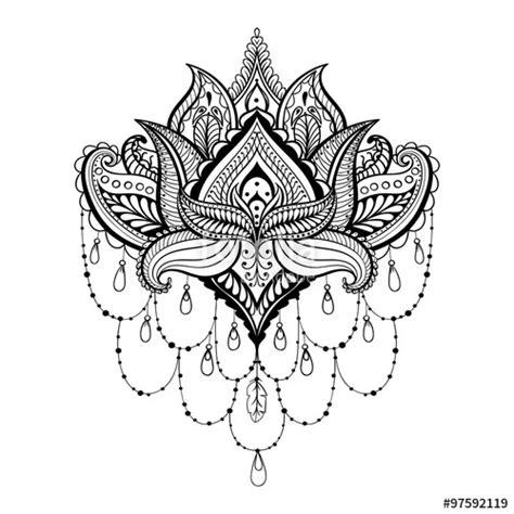 pattern ornamental tattoo quot vector ornamental lotus ethnic zentangled henna tattoo
