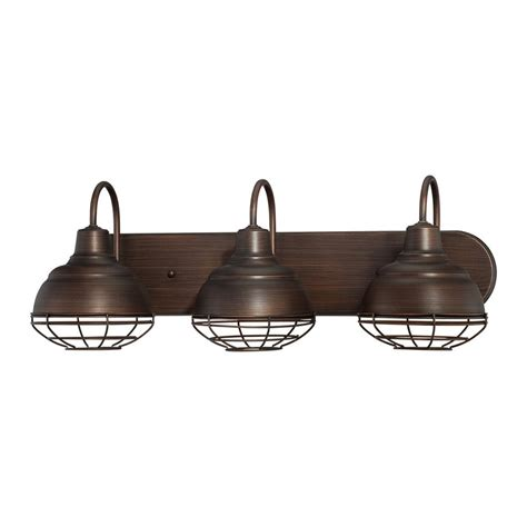 Industrial Bathroom Vanity Lighting Shop Millennium Lighting Neo Industrial 3 Light 9 In Rubbed Bronze Warehouse Vanity Light At