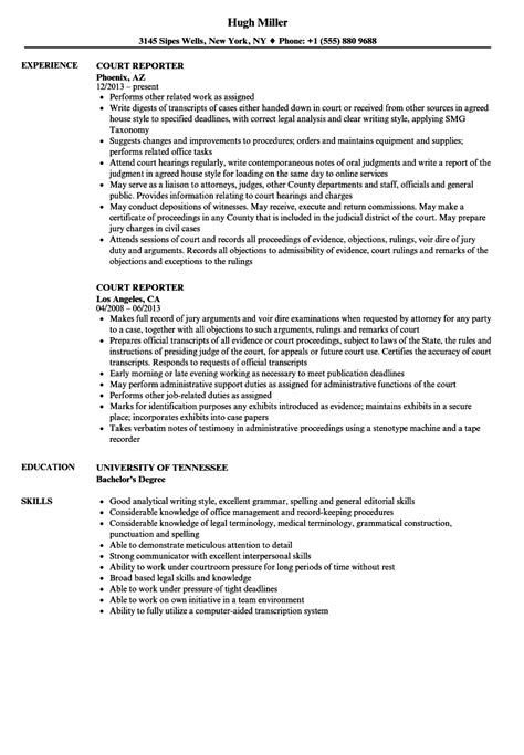 Court Reporter Resume Templates Court Reporter Resume Resume Ideas