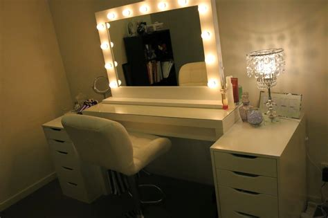 white desk with mirror and lights white ikea makeup vanity for bedroom with lighted