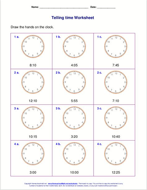 printable clock worksheets for second grade telling time worksheets for 2nd grade
