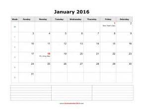 Calendar Template With Notes by Monthly Calendar Template With Notes Calendar Template 2016
