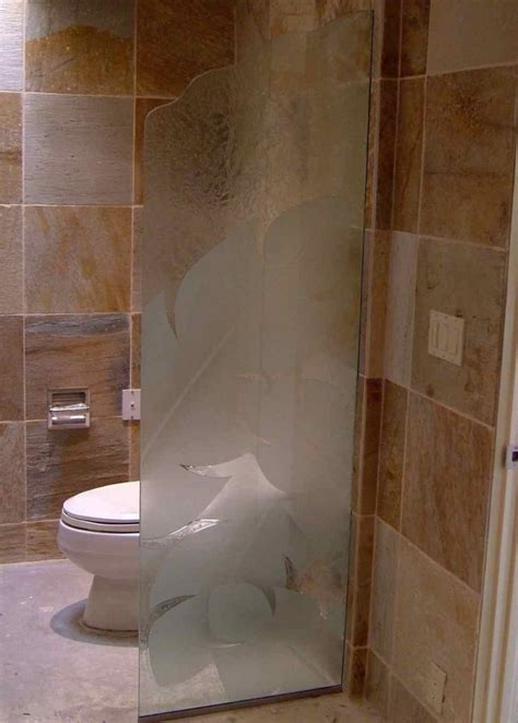 Glass Shower Panels For Bathrooms Banana Leaves Custom Showers Etched Glass Style