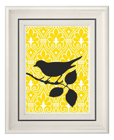home decor yellow modern vintage yellow bird wall art home decor unframed