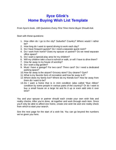 house wish list template home buying wish list template edit fill sign
