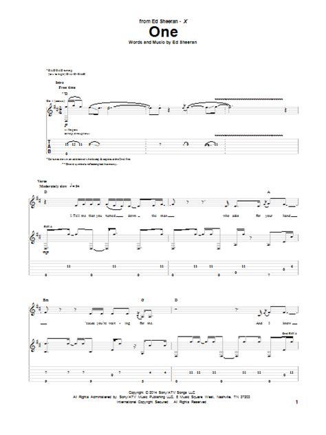 ed sheeran chord one guitar tab by ed sheeran guitar tab 154796