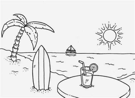 10 sketsa gambar mewarnai pemandangan alam pantai si gambar