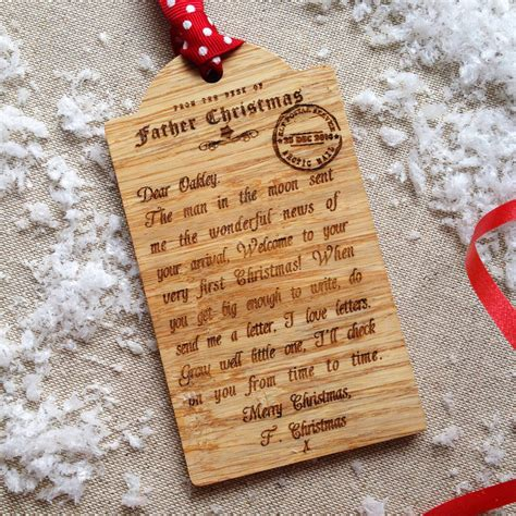 personalized letter from santa babys first christmas bespoke baby s first christmas wooden tag decoration by