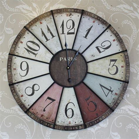 large wall clock large colour paris wall clock bedroom hallway kitchen