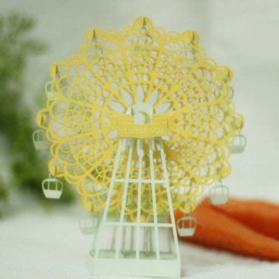 Handcraft Creative - golden iridescent paper ferris wheel paper sculpture
