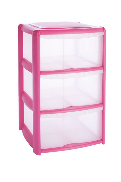 Plastic For Pink b q pink plastic drawer tower unit departments diy at b q