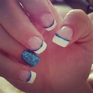 blue acrylic nails sparkles french tip nails to try